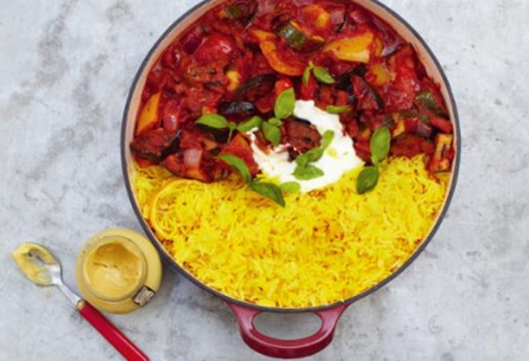 ratatouille served with saffron rice