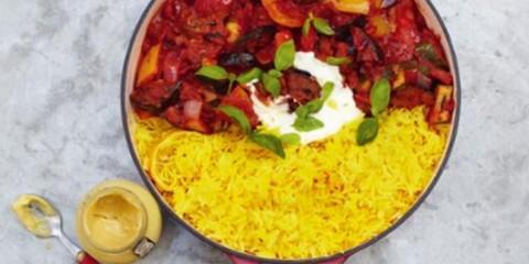 ratatouille y arroz con azafran
