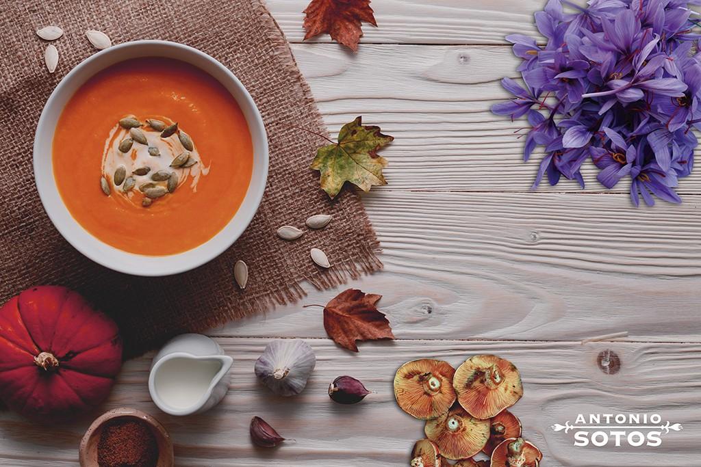 El azafrán y los productos de otoño