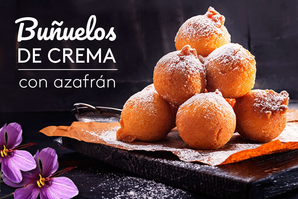 Buñuelos rellenos de crema al azafrán