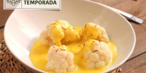 Crema de Coliflor con azafrán, receta ideal de temporada de otoño.