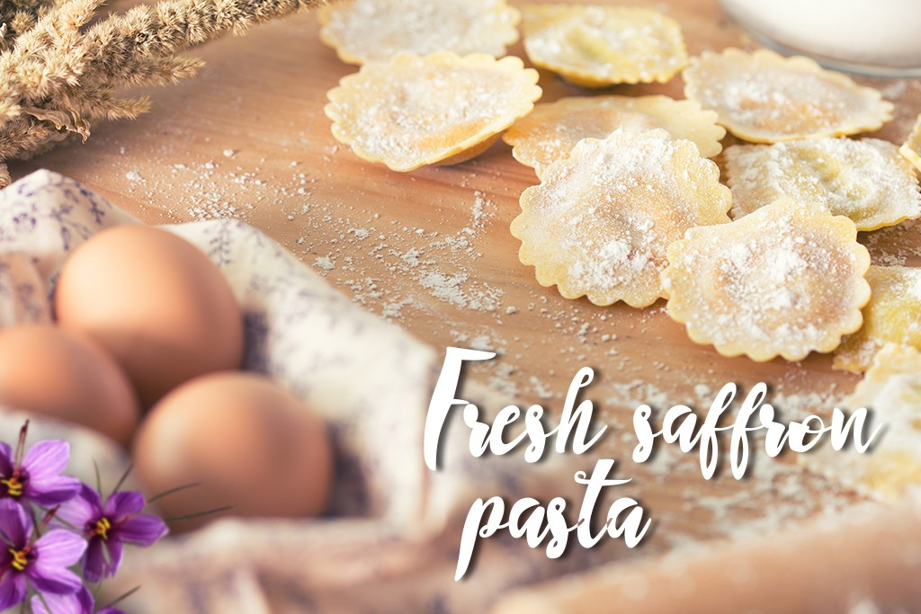 Fresh saffron pasta