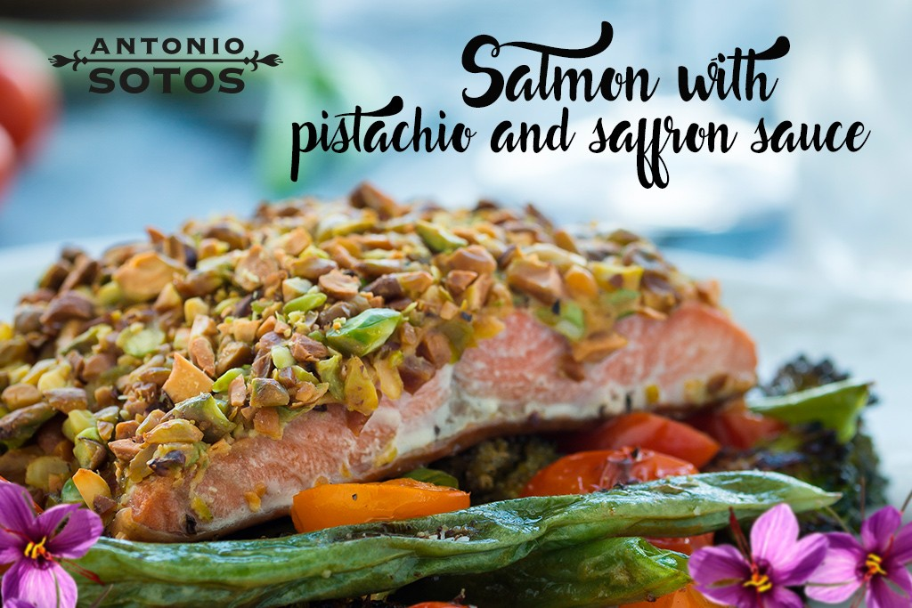 Salmon with pistachio and saffron sauce