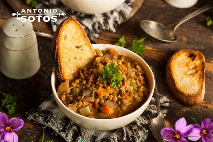 Receta lentejas de verduras con azafrán