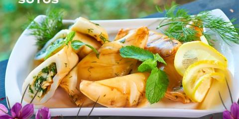 Calamares rellenos con salsa de azafrán