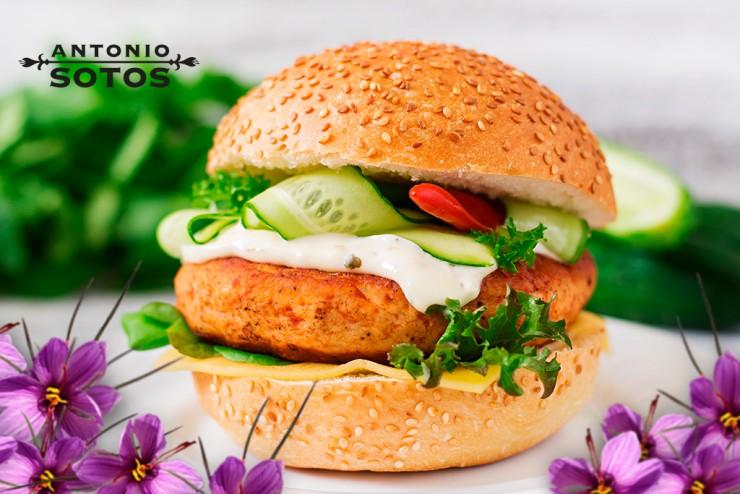 Saffron chicken burger with the works