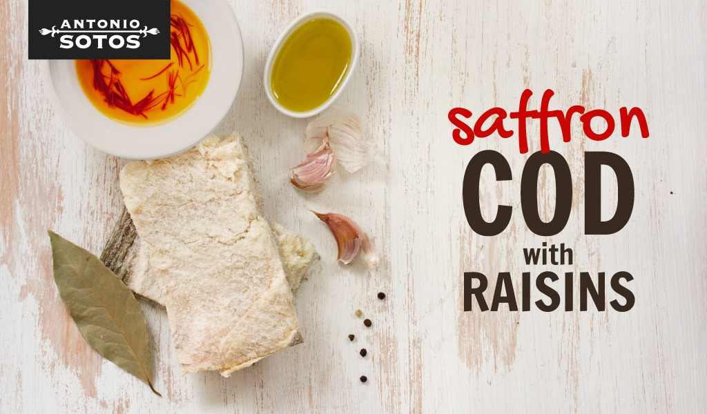 Saffron cod with raisins