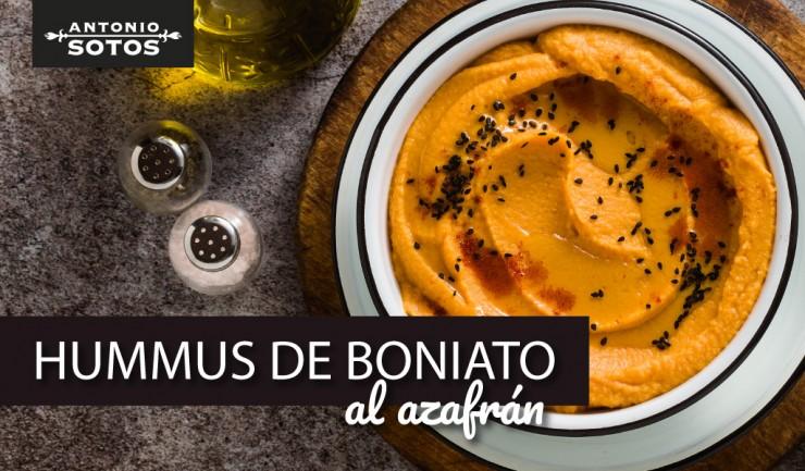 Hummus de boniato al azafrán, un aperitivo saludable