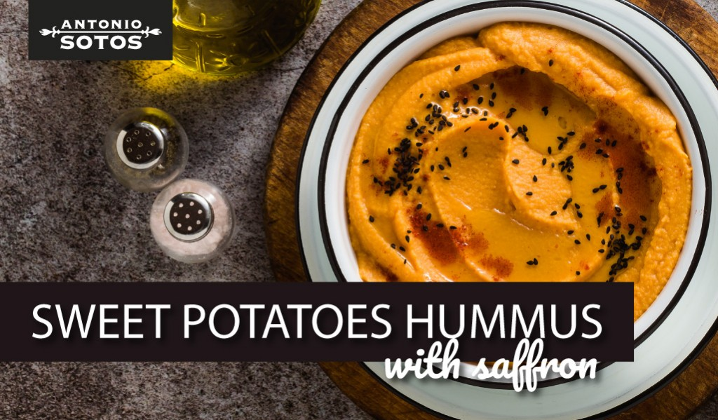 Saffron sweet potato Hummus, a healthy snack