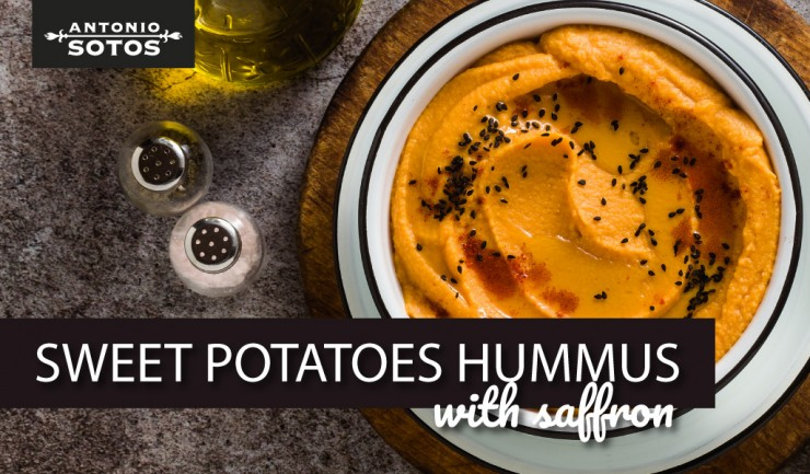 Saffron sweet potato Hummus, a healthy snack