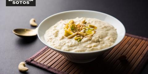 Rabri, the Indian condensed milk, nuts and saffron dessert