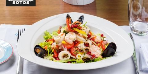 Seafood salad with saffron vinaigrette