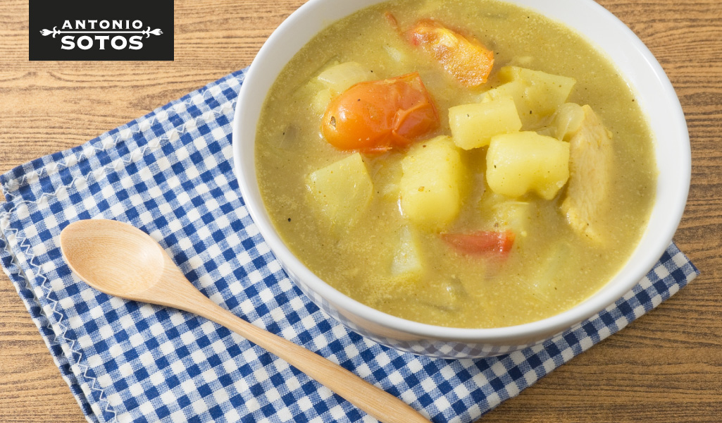 Dogfish with saffron and potatoes, a finger licking stew